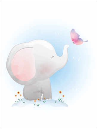 Canvas print  Elephant and Butterfly - Kidz Collection