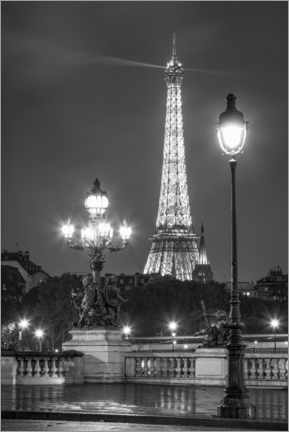 Premium poster  Pont Alexandre III and Eiffel Tower in Paris - Jan Christopher Becke