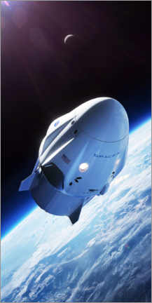 Premium poster  SpaceX crew dragon in orbit - Spacex