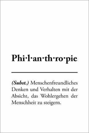 Premium poster  Philanthropy - definition (German) - Typobox