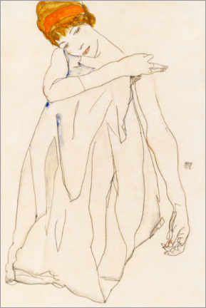 Wood print  The dancer - Egon Schiele
