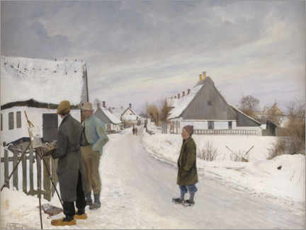 Premium poster The painter in the village