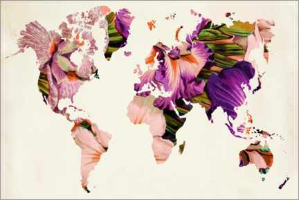 Foam board print  Floral world map - Mandy Reinmuth