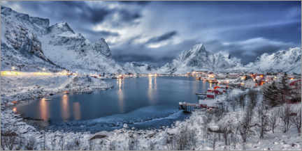 Acrylic print  Reine at the blue hour - André Wandrei