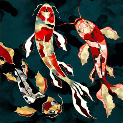 Aluminium print  Metallic Koi - SpaceFrog Designs