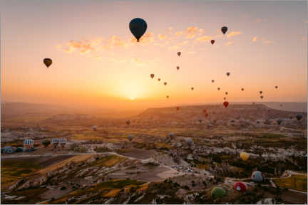 Premium poster  Hot air balloon flight during sunrise over Cappadocia - Marcel Gross