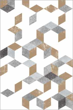 Wood print  Gold and Grey pattern - Sasha Lend