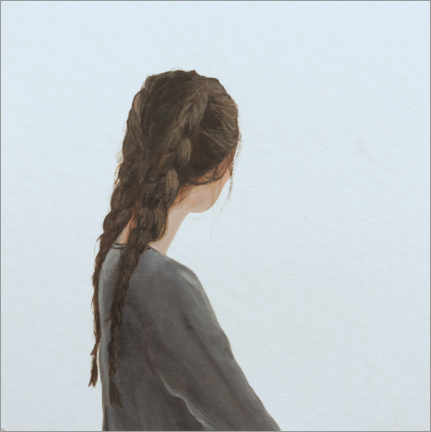 Aluminium print  Lost profile of a young woman with two braids - Karoline Kroiss