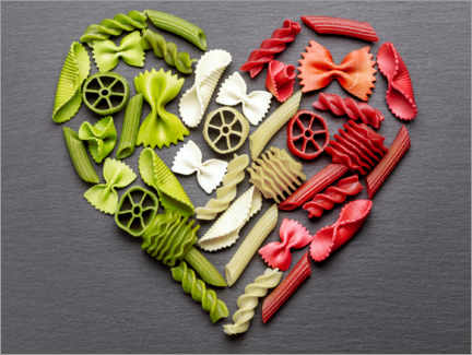 Wood print  Pasta heart with Italy flag colors - pixelliebe