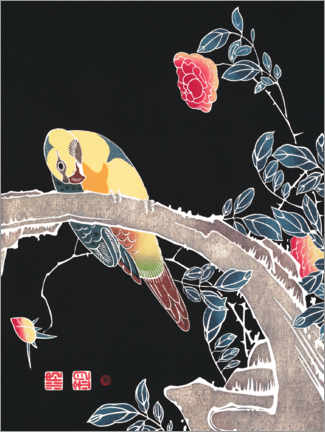 Premium poster Parrot on the branch of a blooming rose