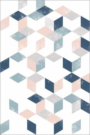 Foam board print  Diced blue and pink pattern - Sasha Lend