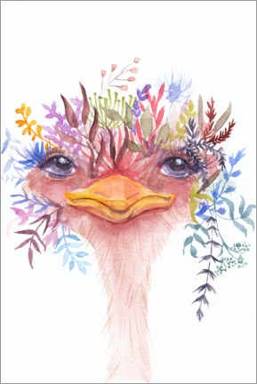 Premium poster Emu with flowers