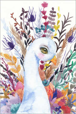 Premium poster Peacock with flowers