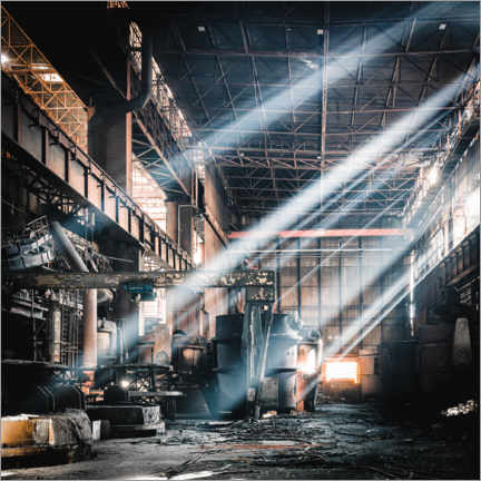 Premium poster  Rays of light inside an abandoned steel mill - Irnmonkey