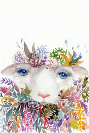 Premium poster Sheep with flowers