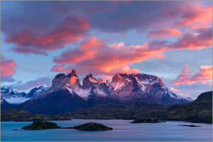 Premium poster  Sunrise over Cuernos del Paine and Lake Pehoe - Yuri Choufour