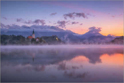 Premium poster  Dawn on Lake Bled - André Wandrei
