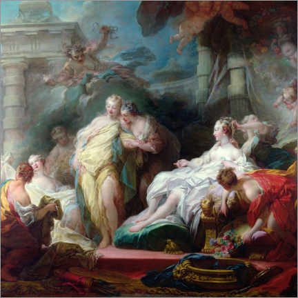Wood print  Psyche shows her sisters her cupid gifts - Jean-Honoré Fragonard