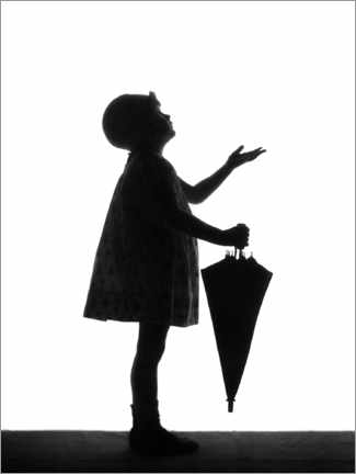 Premium poster Little girl with an umbrella