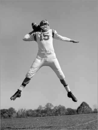 Wood print  Football Quarterback throwing pass, 1960s