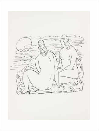 Foam board print  Two nude women sitting by the sea - Leo Gestel