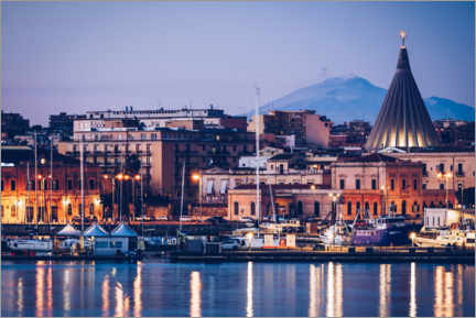 Premium poster  Syracuse skyline in front of Mount Etna (Sicily, Italy) - Alexander Voss