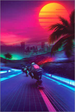 Wood print  Synthwave Midnight Outrun - Denny Busyet