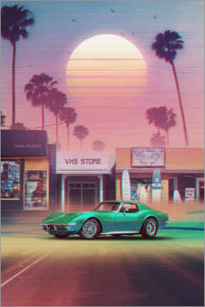 Canvas print  Synthwave Sunset Drive - Denny Busyet