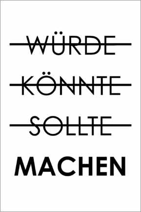 Wall sticker  Would, could, should, do (German) - Typobox