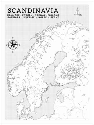 Colouring poster Scandinavia