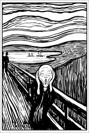 Colouring poster  The Scream - Edvard Munch