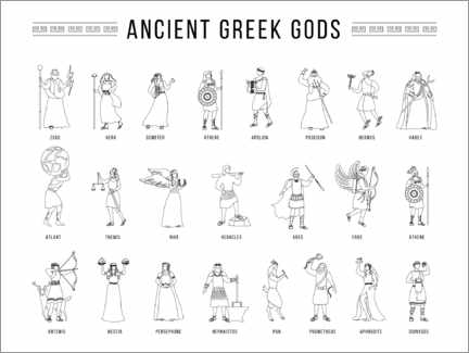 Colouring poster  Greek gods