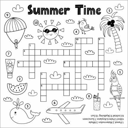 Colouring poster Holiday puzzles