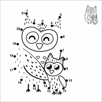 Colouring poster  Owl family