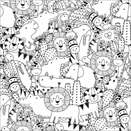 Colouring poster  Jungle animals