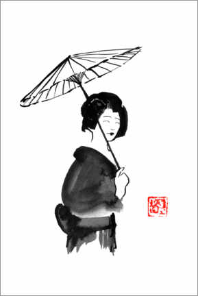 Canvas print  Geisha with an umbrella - Péchane