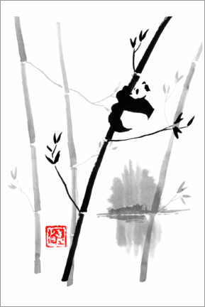Premium poster  Panda on the bamboo tree - Péchane