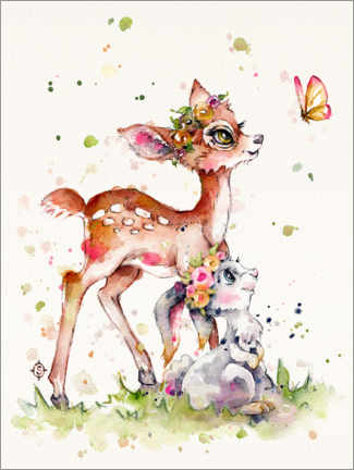 Premium poster Fawn and bunny