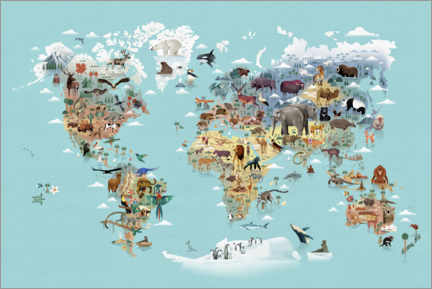 Wood print  World Map of Animals - Dieter Braun