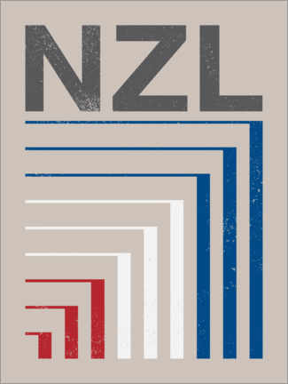 Premium poster  New Zealand retro flag - Swissty