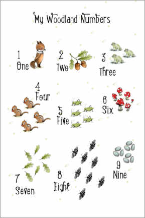 Gallery print  Woodland Numbers - Paola Zakimi