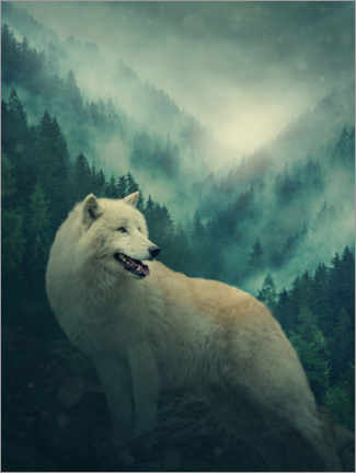 Premium poster White wolf in the forest