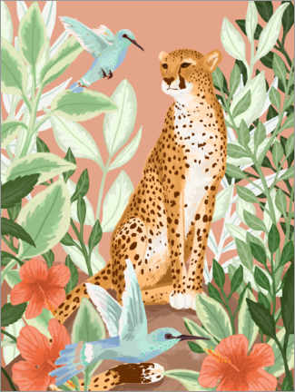 Canvas print  Tropical cheetah - Goed Blauw