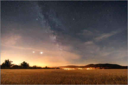 Premium poster The Milky Way over the Brocken low mountain range in the Harz Mountains