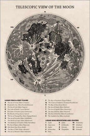 Premium poster  Moon map (english) - Wunderkammer Collection