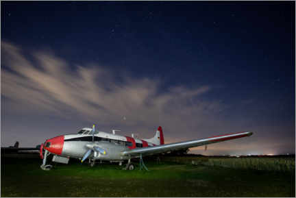 Wood print  Aeroplane Night Photograph - Paul Heasman