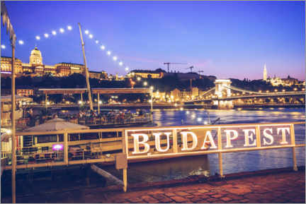 Premium poster  Blue hour on the Danube bank, Budapest - Alexander Voss