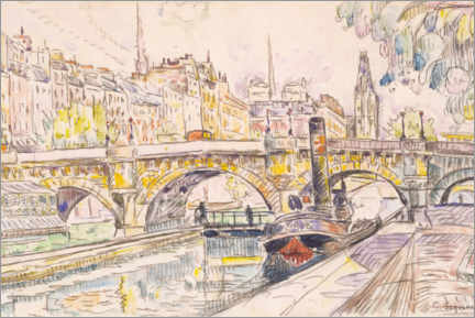 Acrylic print  Tugboat at the Pont Neuf, Paris - Paul Signac