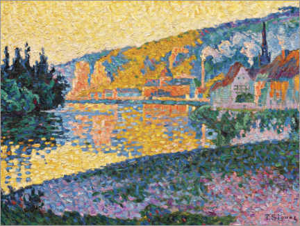 Wood print  Les Andelys, sunset - Paul Signac
