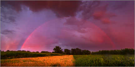 Premium poster  Rainbow at sunset with lightning - Benjamin Butschell